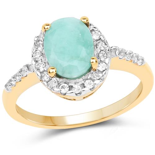 Emerald-14K Yellow Gold Plated 1.44 Carat Genuine Emerald and White Topaz .925 Sterling Silver Ring