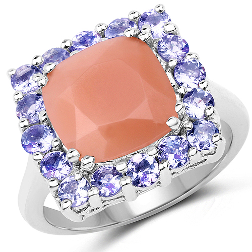 Rings-6.70 Carat Genuine Peach Moonstone and Tanzanite .925 Sterling Silver Ring