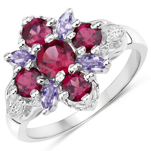 Rhodolite-1.89 Carat Genuine Rhodolite and Iolite .925 Sterling Silver Ring