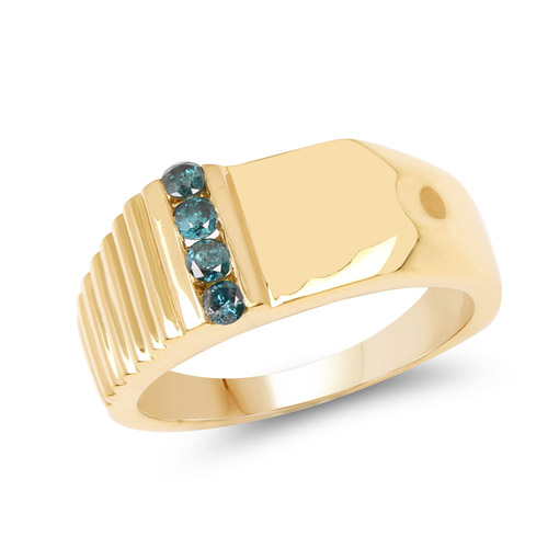 Diamond-14K Yellow Gold Plated 0.20 Carat Genuine Blue Diamond .925 Sterling Silver Ring