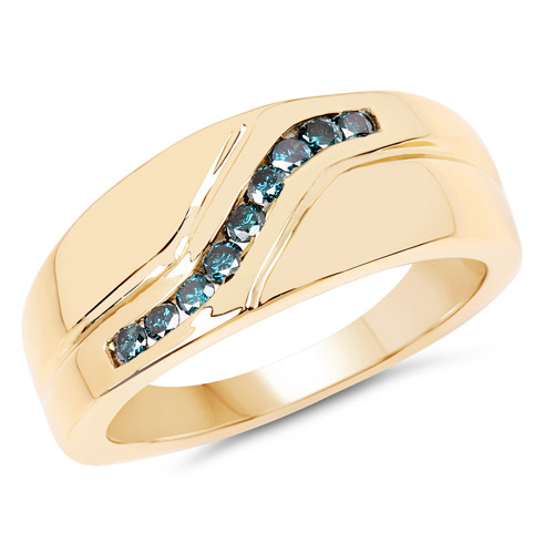 Diamond-14K Yellow Gold Plated 0.27 Carat Genuine Blue Diamond .925 Sterling Silver Ring