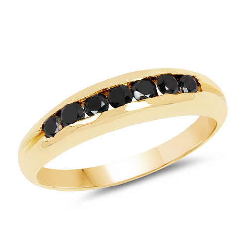 Diamond-14K Yellow Gold Plated 0.35 Carat Genuine Black Diamond .925 Sterling Silver Ring
