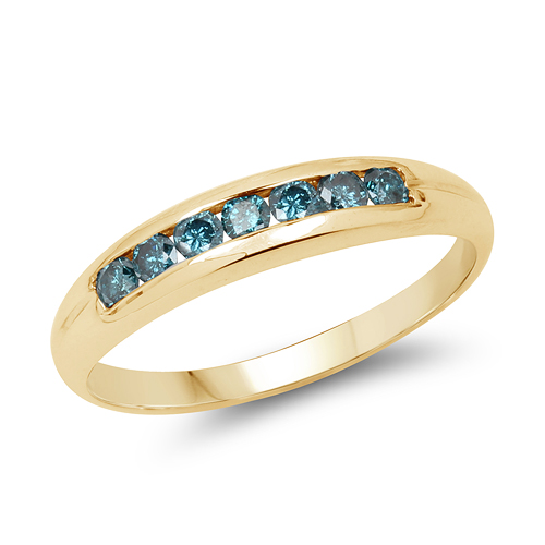 Diamond-14K Yellow Gold Plated 0.35 Carat Genuine Blue Diamond .925 Sterling Silver Ring