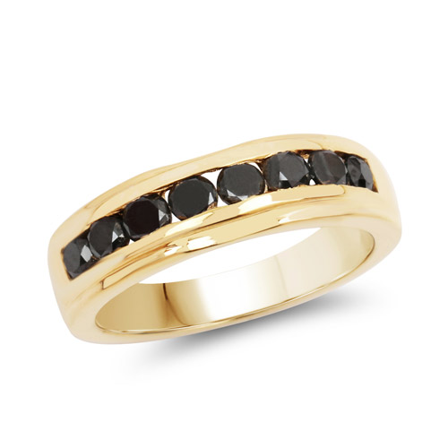 Diamond-14K Yellow Gold Plated 0.88 Carat Genuine Black Diamond .925 Sterling Silver Ring