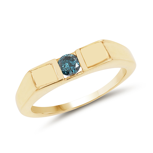 Diamond-14K Yellow Gold Plated 0.25 Carat Genuine Blue Diamond .925 Sterling Silver Ring