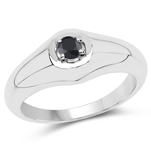 Diamond-0.17 Carat Genuine Black Diamond .925 Sterling Silver Ring