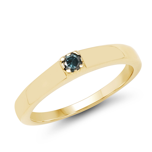 Diamond-14K Yellow Gold Plated 0.12 Carat Genuine Blue Diamond .925 Sterling Silver Ring
