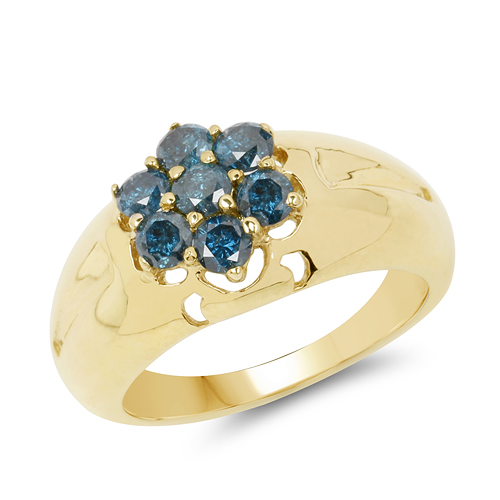 Diamond-14K Yellow Gold Plated 0.98 Carat Genuine Blue Diamond .925 Sterling Silver Ring