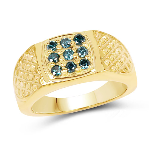 Diamond-14K Yellow Gold Plated 0.36 Carat Genuine Blue Diamond .925 Sterling Silver Ring