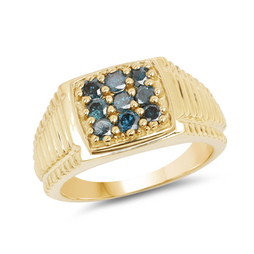 Diamond-14K Yellow Gold Plated 0.63 Carat Genuine Blue Diamond .925 Sterling Silver Ring