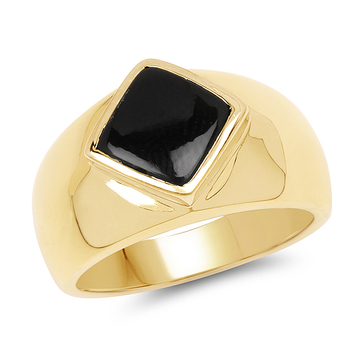 Rings-14K Yellow Gold Plated 2.00 Carat Genuine Black Onyx .925 Sterling Silver Ring
