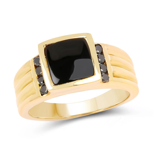 Rings-14K Yellow Gold Plated 2.16 Carat Genuine Black Onyx and Black Diamond .925 Sterling Silver Ring