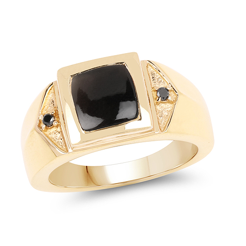 Rings-14K Yellow Gold Plated 2.03 Carat Genuine Black Onyx and Black Diamond .925 Sterling Silver Ring