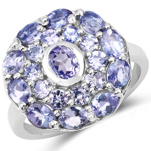 Tanzanite-2.73 Carat Genuine Tanzanite .925 Sterling Silver Ring