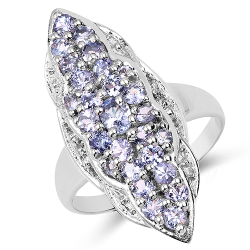 Tanzanite-1.03 Carat Genuine Tanzanite and White Topaz .925 Sterling Silver Ring