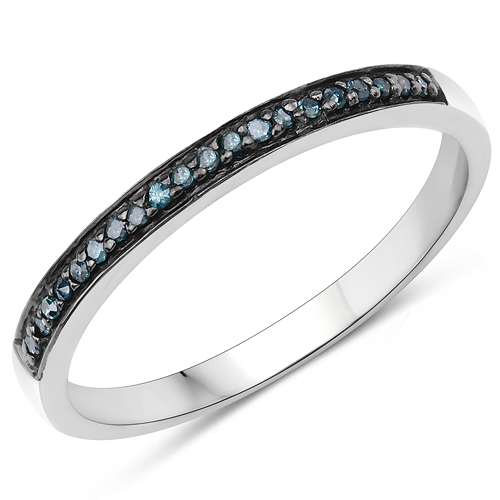 Diamond-0.08 Carat Genuine Blue Diamond .925 Sterling Silver Ring
