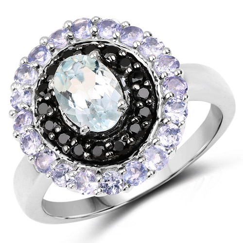Rings-1.77 Carat Genuine Aquamarine, Black Spinel and Tanzanite .925 Sterling Silver Ring