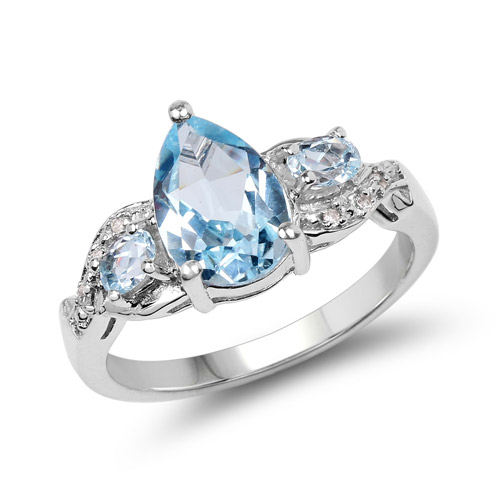 Rings-2.31 Carat Genuine Blue Topaz and White Topaz .925 Sterling Silver Ring