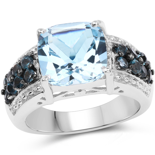 Rings-4.98 Carat Genuine Blue Topaz and London Blue Topaz .925 Sterling Silver Ring