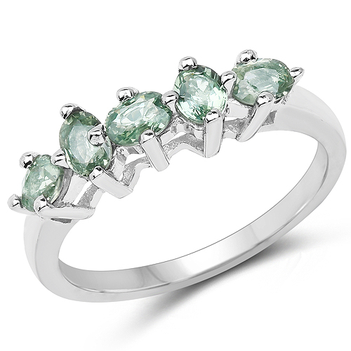 Sapphire-1.00 Carat Genuine Green Sapphire .925 Sterling Silver Ring