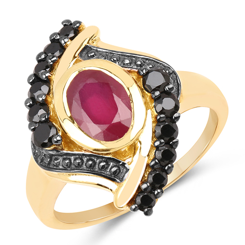 Ruby-14K Yellow Gold Plated 2.24 Carat Genuine Glass Filled Ruby & Black Spinel .925 Sterling Silver Ring