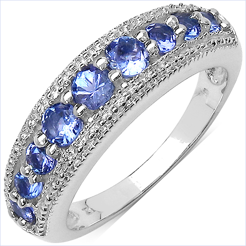 Tanzanite-0.72 Carat Genuine Tanzanite .925 Sterling Silver Ring