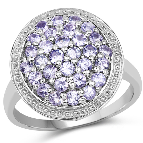 Tanzanite-0.90 Carat Genuine Tanzanite .925 Sterling Silver Ring