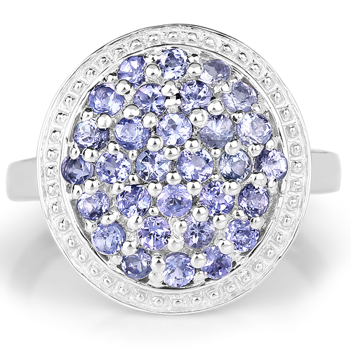 0.90 Carat Genuine Tanzanite .925 Sterling Silver Ring