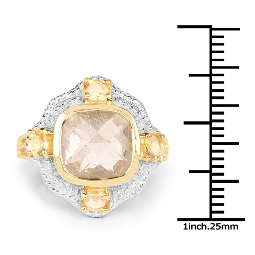 14K Yellow Gold Plated 4.07 Carat Genuine Golden Rutile and Citrine .925 Sterling Silver Ring