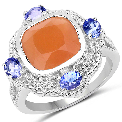 Rings-4.23 Carat Genuine Peach Moonstone and Tanzanite .925 Sterling Silver Ring