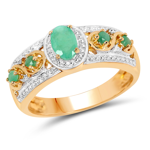 Emerald-14K Yellow Gold Plated 0.54 Carat Genuine Emerald .925 Sterling Silver Ring
