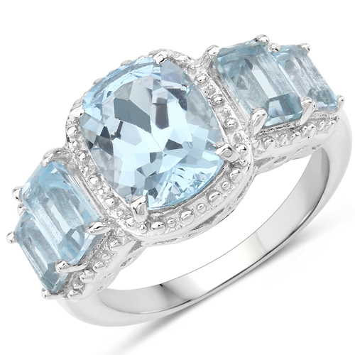 Rings-5.34 Carat Genuine Blue Topaz .925 Sterling Silver Ring