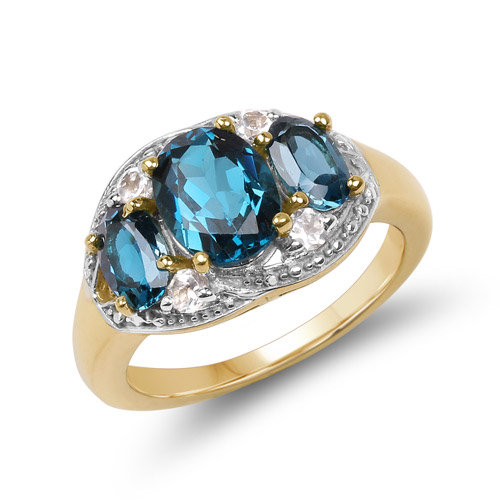 Rings-14K Yellow Gold Plated 2.77 Carat Genuine London Blue Topaz and White Topaz .925 Sterling Silver Ring