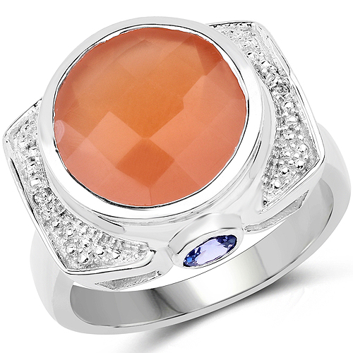 Rings-5.99 Carat Genuine Peach Moonstone, Tanzanite and White Topaz .925 Sterling Silver Ring