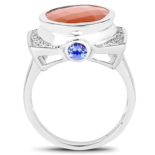 5.99 Carat Genuine Peach Moonstone, Tanzanite and White Topaz .925 Sterling Silver Ring