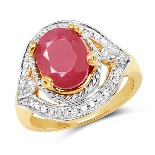 Ruby-14K Yellow Gold Plated 3.66 Carat Genuine Glass Filled Ruby & White Topaz .925 Sterling Silver Ring