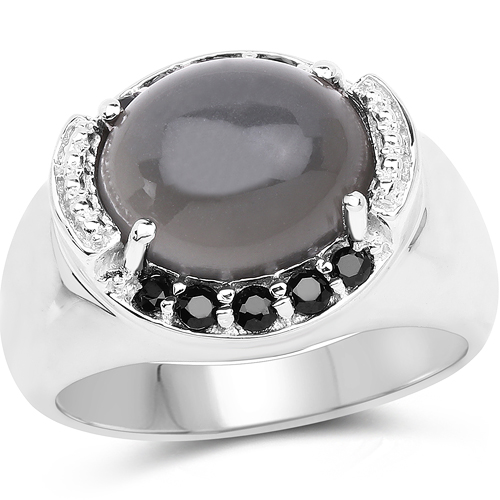 Rings-5.68 Carat Genuine Grey Moonstone & Black Spinel .925 Sterling Silver Ring