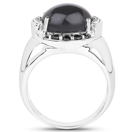 5.68 Carat Genuine Grey Moonstone & Black Spinel .925 Sterling Silver Ring