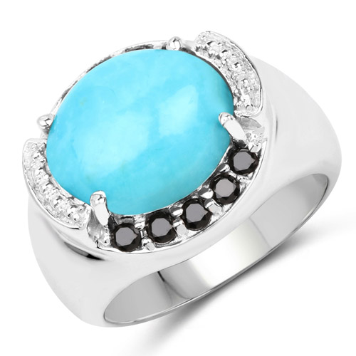 Rings-4.58 Carat Genuine Turquoise and Black Spinel .925 Sterling Silver Ring