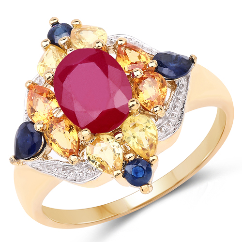 Ruby-14K Yellow Gold Plated 3.76 Carat Genuine Multi Stone .925 Sterling Silver Ring