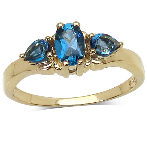 Rings-14K Yellow Gold Plated 1.05 Carat Genuine London Blue Topaz .925 Sterling Silver Ring