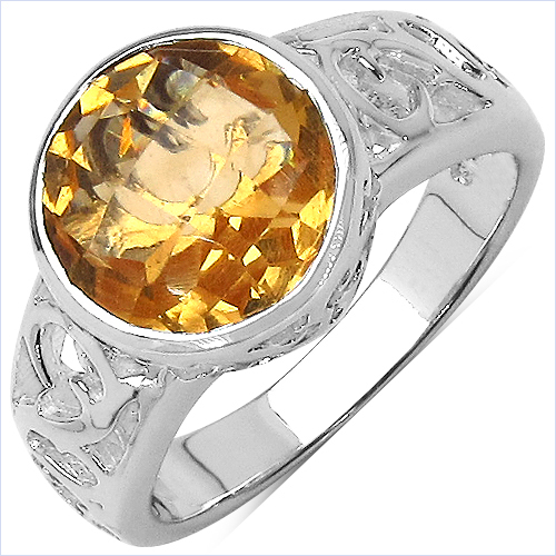 Citrine-3.47 Carat Genuine Citrine .925 Sterling Silver Ring