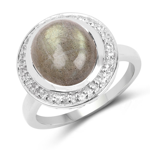 Rings-5.43 Carat Genuine Labradorite and White Topaz .925 Sterling Silver Ring