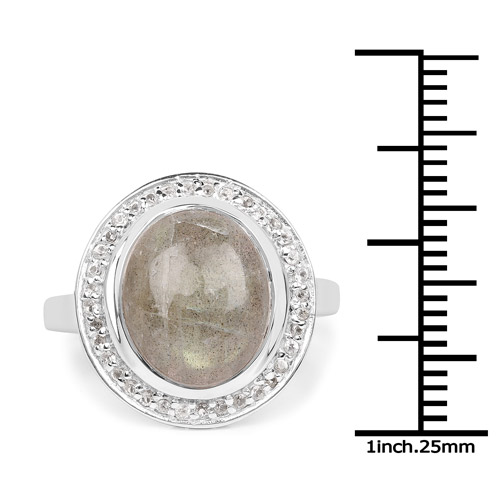 5.43 Carat Genuine Labradorite and White Topaz .925 Sterling Silver Ring