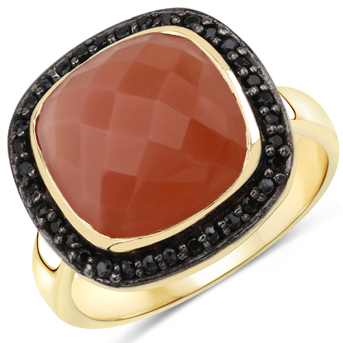 Rings-14K Yellow Gold Plated 6.74 Carat Genuine Peach Moonstone and Black Spinel .925 Sterling Silver Ring