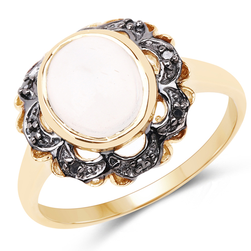 Rings-14K Yellow Gold Plated 3.04 Carat Genuine White Moonstone and Black Diamond .925 Sterling Silver Ring