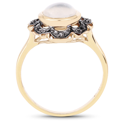 14K Yellow Gold Plated 3.04 Carat Genuine White Moonstone and Black Diamond .925 Sterling Silver Ring