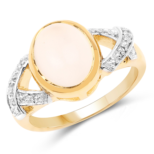 Rings-14K Yellow Gold Plated 3.06 Carat Genuine Moonstone & White Topaz .925 Sterling Silver Ring