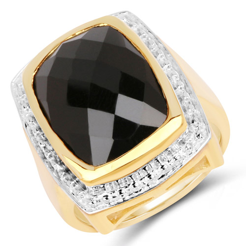 Rings-14K Yellow Gold Plated 11.00 Carat Genuine Black Onyx .925 Sterling Silver Ring