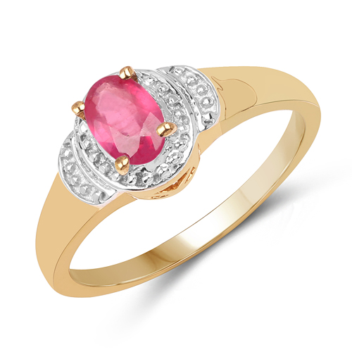 Ruby-14K Yellow Gold Plated 0.49 Carat Genuine Glass Filled Ruby .925 Sterling Silver Ring